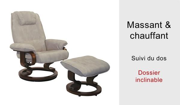 fauteuil relaxation massant et chauffant electrique